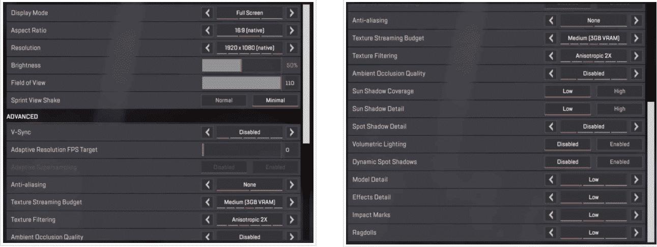 apex legends pro settings