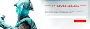 Warframe Promo Codes screen