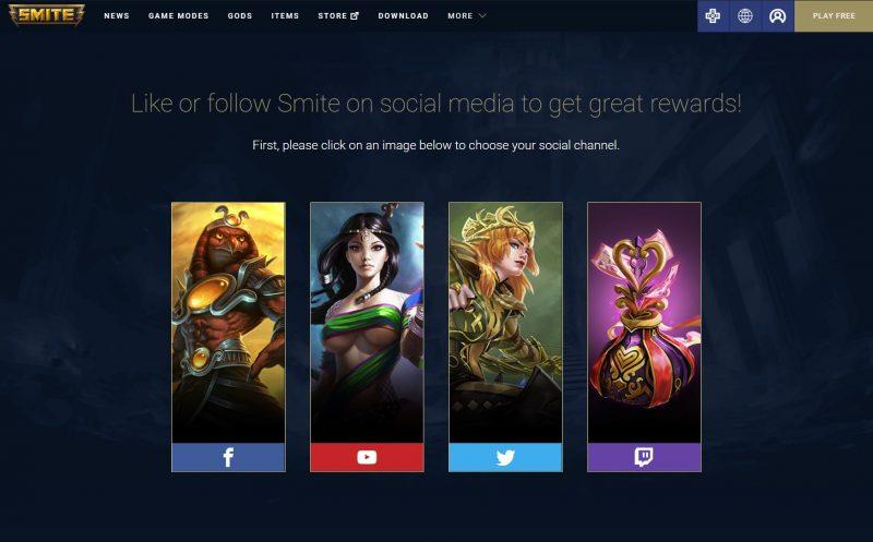 Smite codes social media rewards