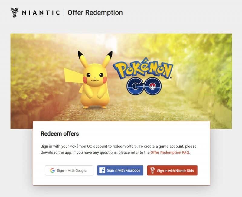 niantic offer redemption page for free pokeemon go promo code