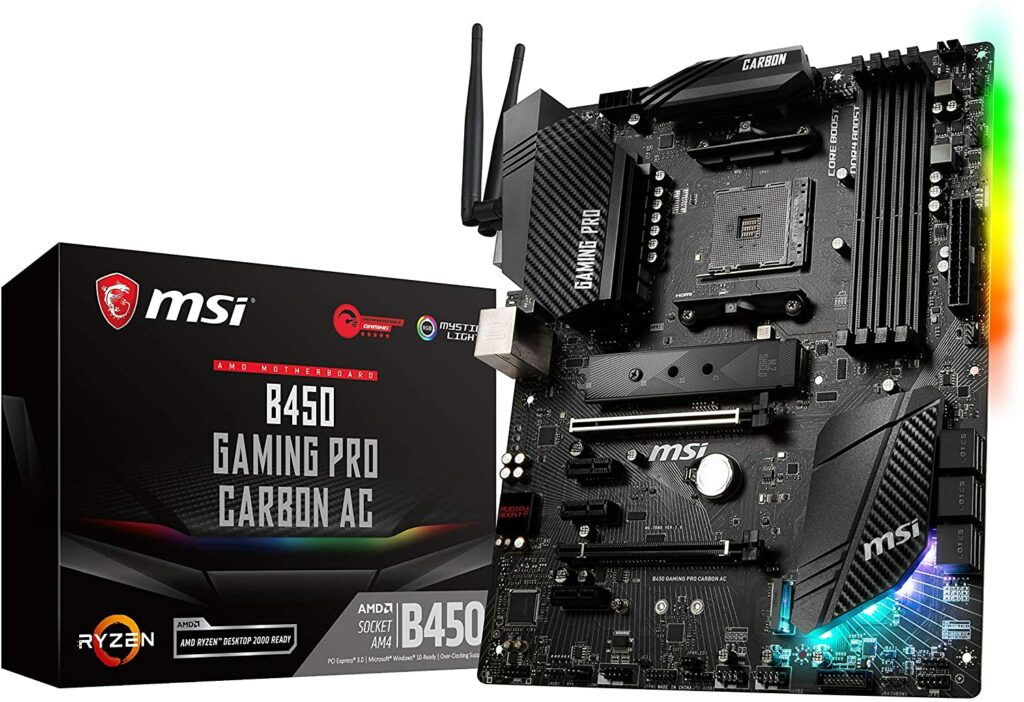 MSI B450 Gaming Pro Carbon AC best motherboard for ryzen 5 2600