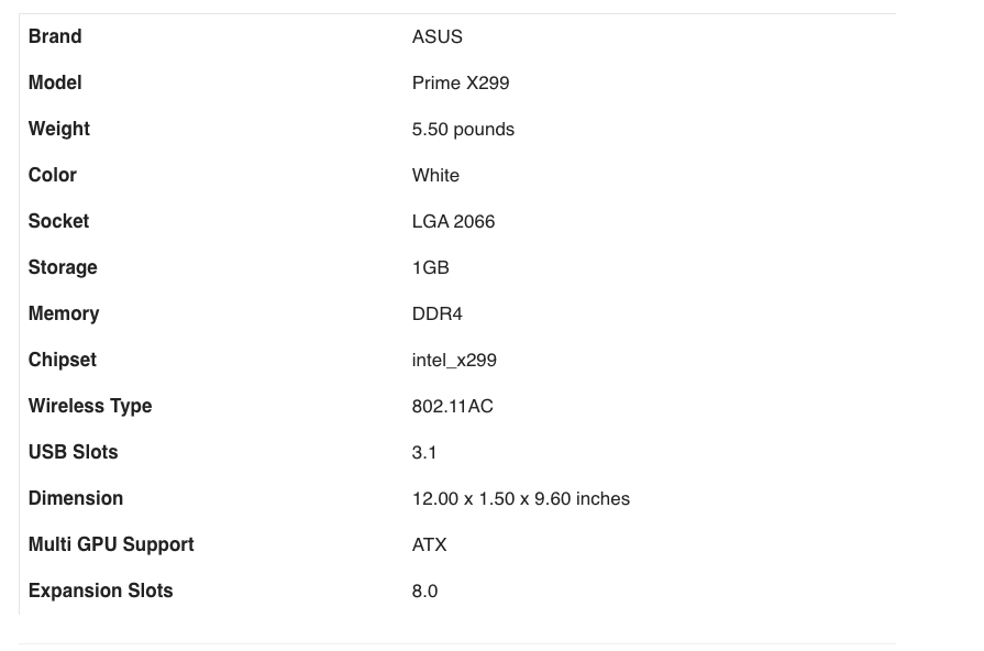 ASUS Prime X299-Deluxe II X299 Motherboard specifications