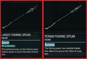 Warframe fishing Spear Types